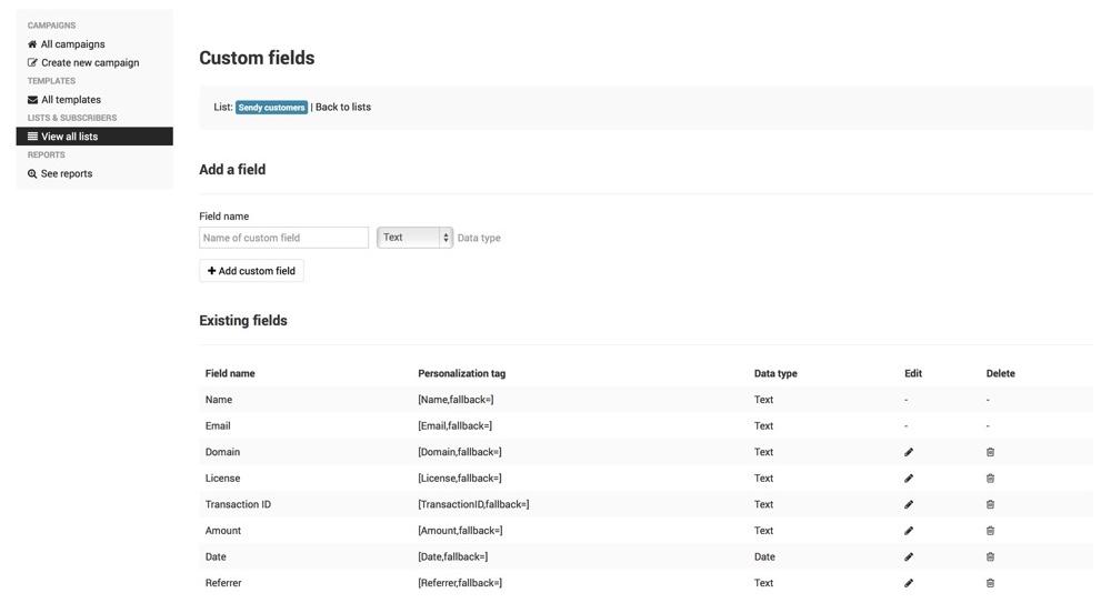 emaily custom fields