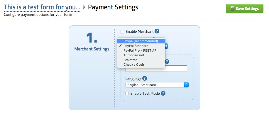 formsy payment options